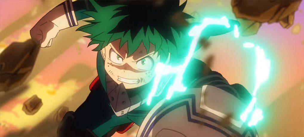 Deku punching a rock in My Hero Academia