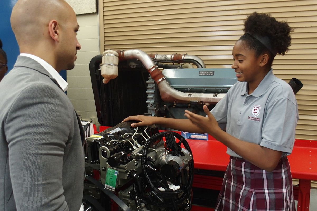 Kia Bolton, a freshman at the T-STEM Academy at East High School, explains what she's learning in the Memphis school's new diesel program.