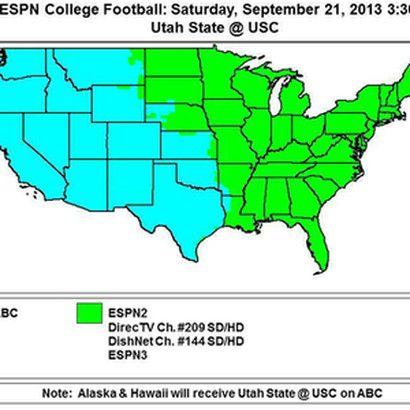 Coverage map of USC vs. Utah State - Mountain West Connection on
