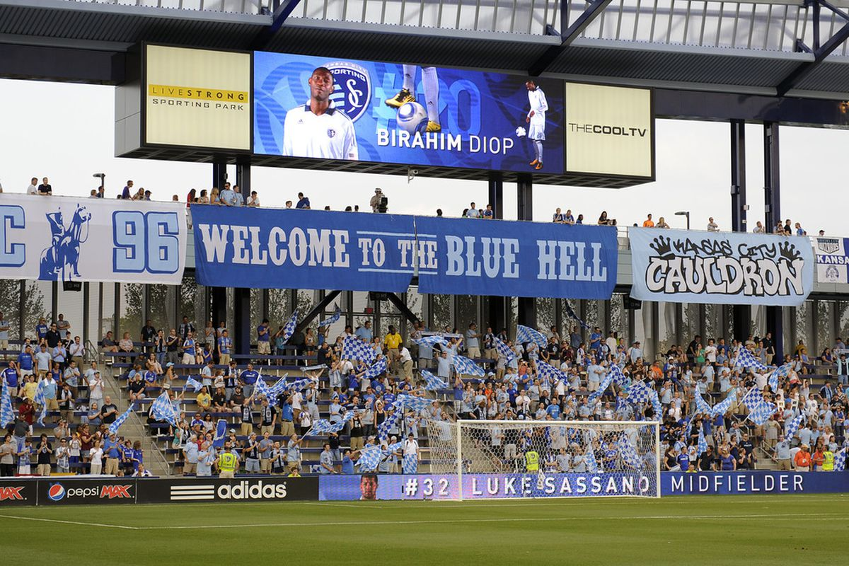 KANSAS CITY, KS - JUNE 17:  General view of the fan section prior to a match between Sporting Kansas City and the San Jose Earthquakes on June 17, 2011 at LiveStrong Sporting Park in Kansas City, Kansas. (Photo by G. Newman Lowrance/Getty Images)