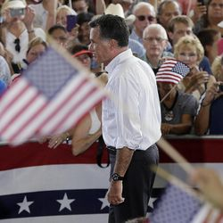 Republican presidential candidate Mitt Romney campaigns at the Military Aviation Museum in Virginia Beach, Va., Saturday, Sept. 8, 2012.
