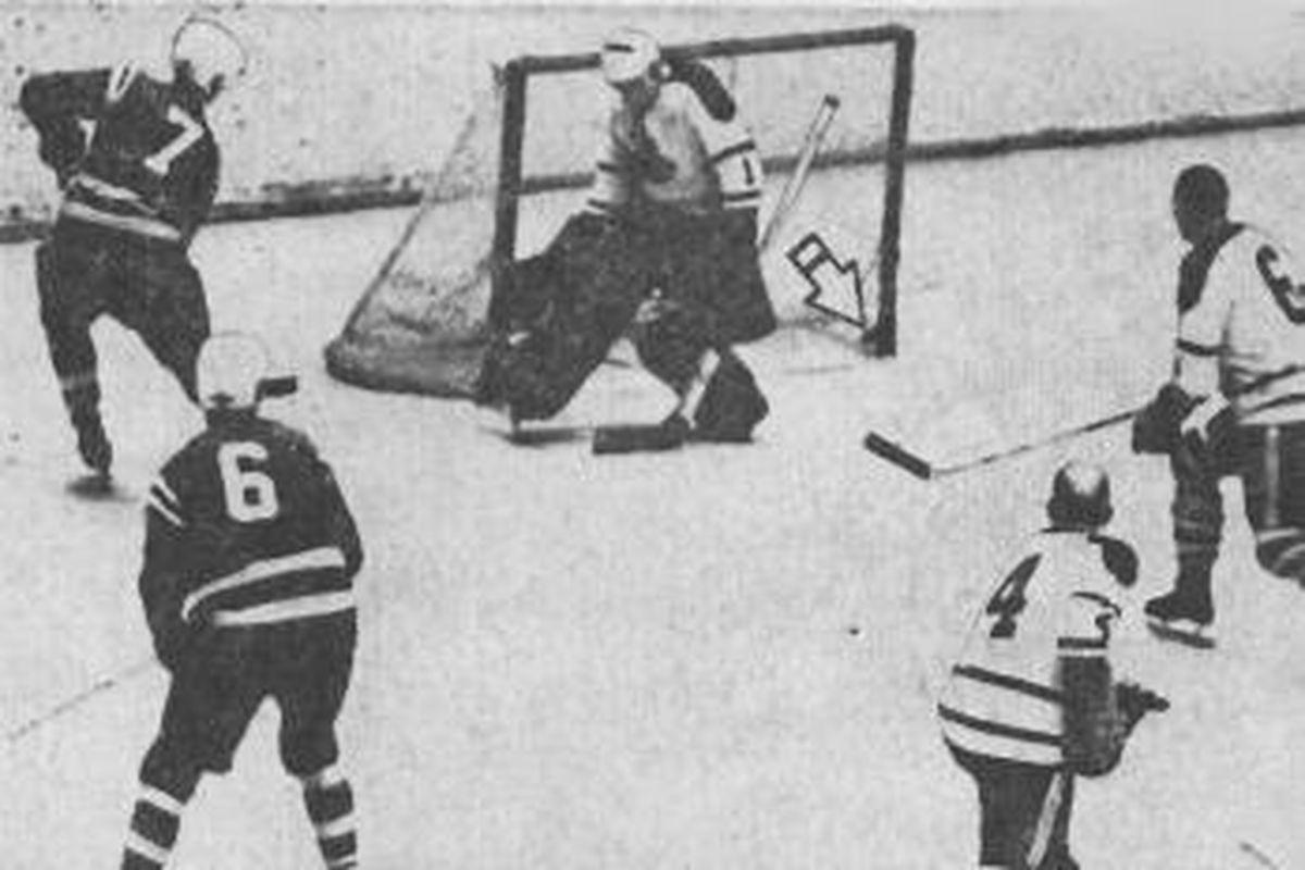 The pre-Jacksonville Barons surrender a goal against the Buffalo Bisons in a 1965 AHL tilt.