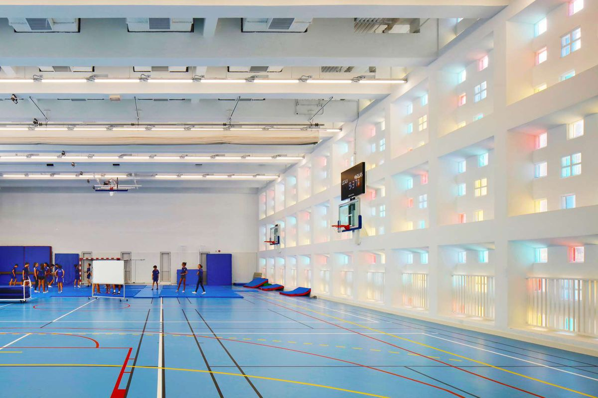 Gym with blue floor