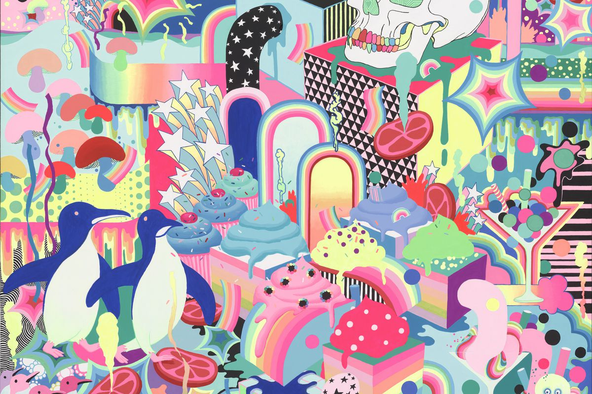 A painting with penguins, colorful shapes, and a skull