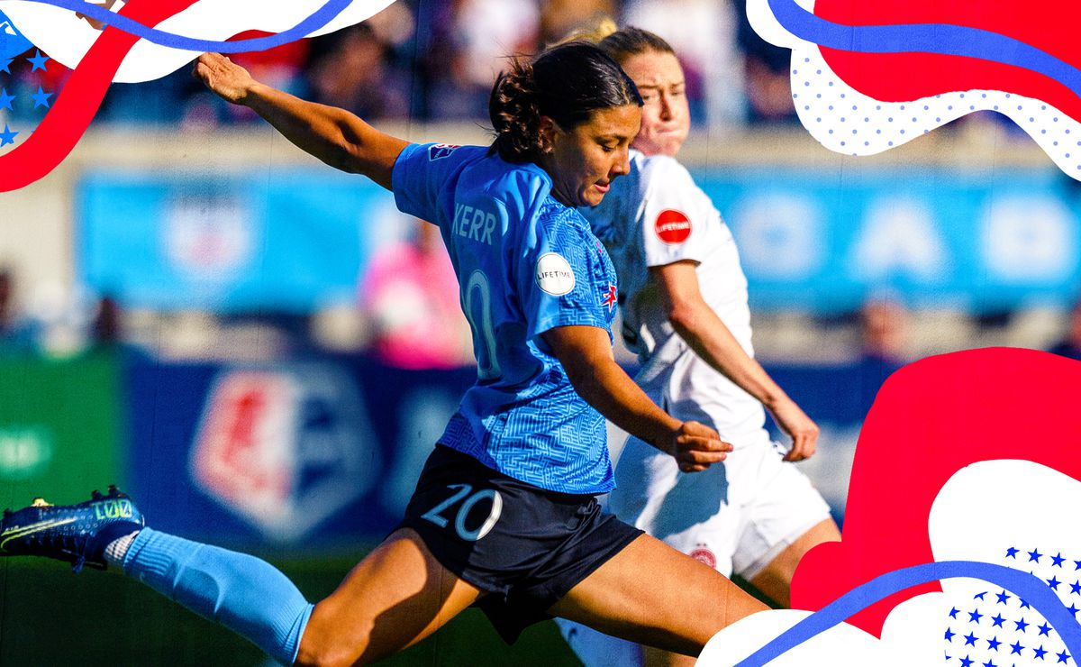 Image of Sam Kerr rearing back her leg to kick a ball while playing for the Chicago Red Stars.