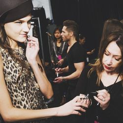 Right before the models walked out at the Lincoln Center Theater. Had to do a quick touch up to make sure every nail was perfect.