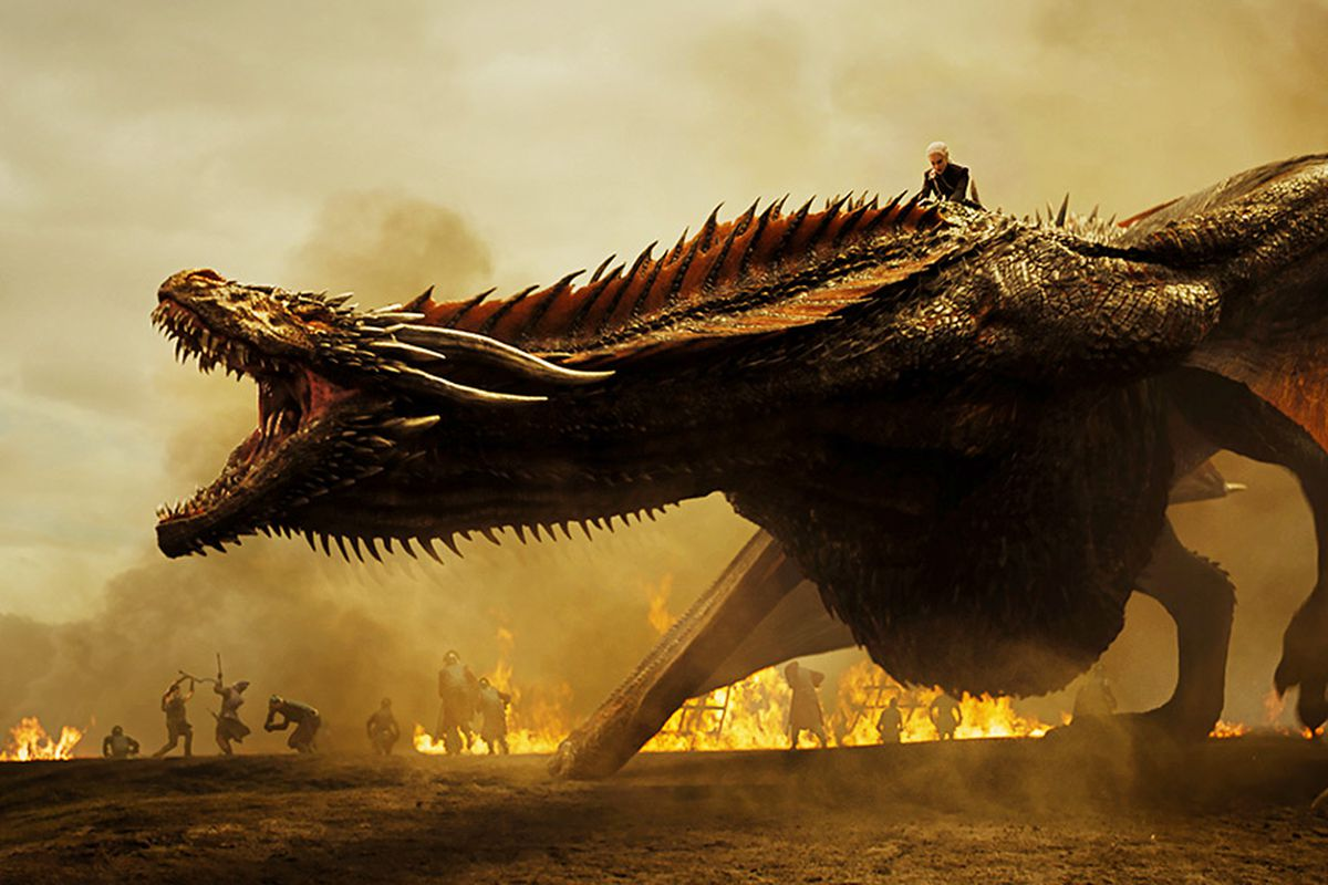 Dany with one of her dragons, Drogon