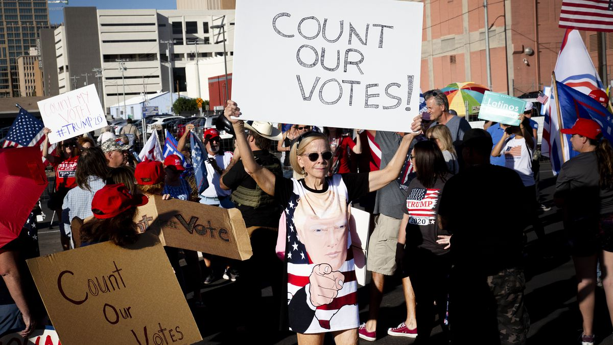 """A protester wearing a dress bearing an image of Trump's face and pointing finger holds up a sign that reads, """"Count our votes!"""""""