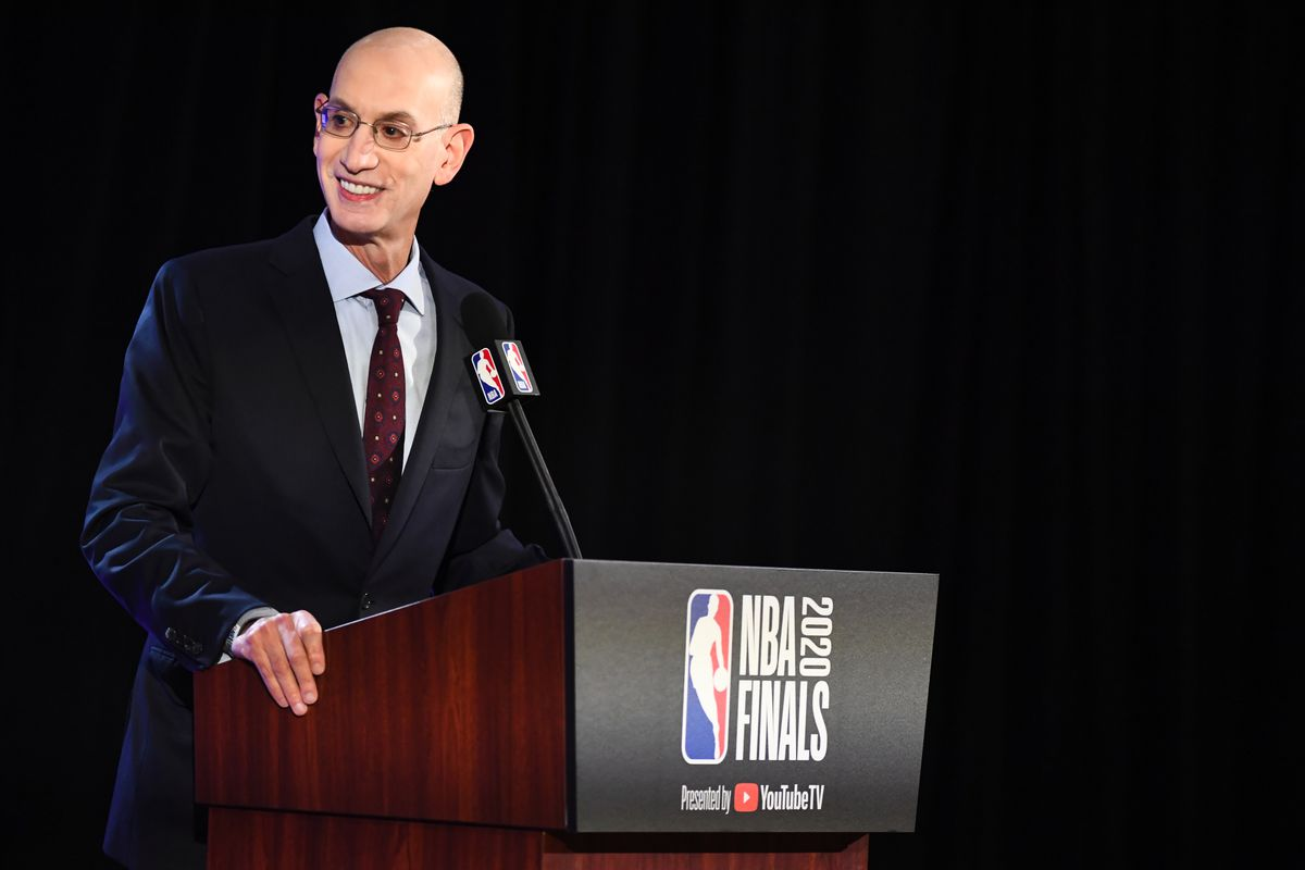 NBA Commissioner Adam Silver addresses the media prior to the game of the Miami Heat against the Los Angeles Lakers in Game one of the 2020 NBA Finals as part of the NBA Restart 2020 on September 30, 2020 at AdventHealth Arena at ESPN Wide World of Sports Complex in Orlando, Florida.