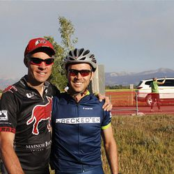 Roger Mooney of Reno, NV at the finish line completing another successful Lotoja.