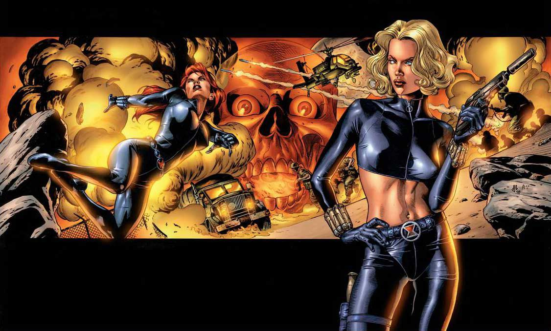 Yelena Belova, in a midriff-baring Black Widow outfit, brandishes a gun. Behind her, Natasha Romanoff/Black Widow doges a collage of explosions and enemies, on a wrap-around variant cover of Black Widow #1, Marvel Comics (1999).