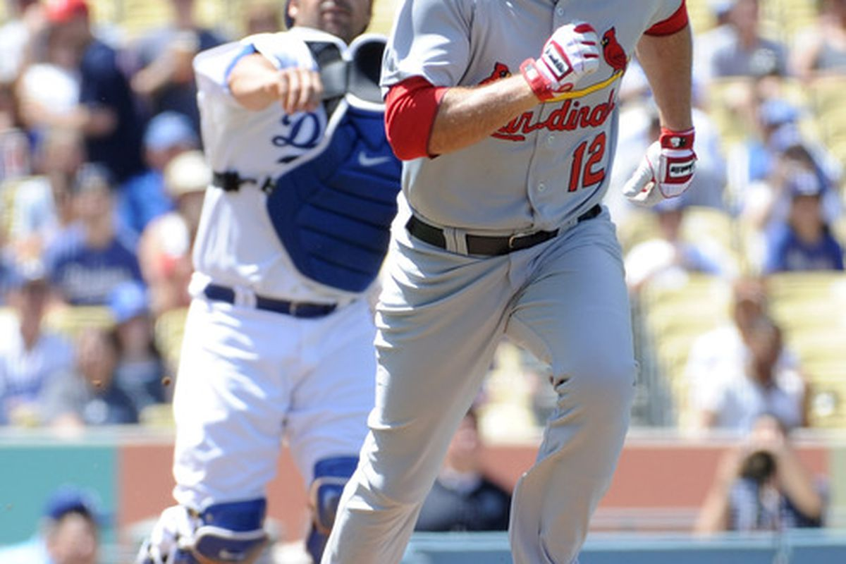 Rod Barajas (28) of the Los Angeles Dodgers throws out Lance Berkman (12) of the St Louis Cardinals during the second inning at Dodger Stadium on April 17, 2011 in Los Angeles, California.  (Photo by Harry How/Getty Images)
