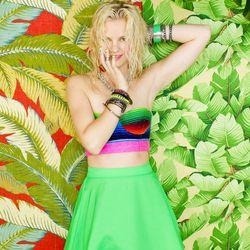 Playa Bustier, Silk Circle Skirt, Mixed Bangles