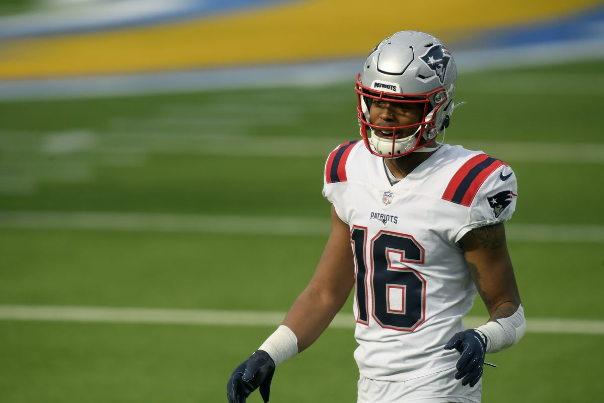 Jakobi Meyers #16 of the New England Patriots during warm up before the game against the Los Angeles Chargers at SoFi Stadium on December 06, 2020 in Inglewood, California.