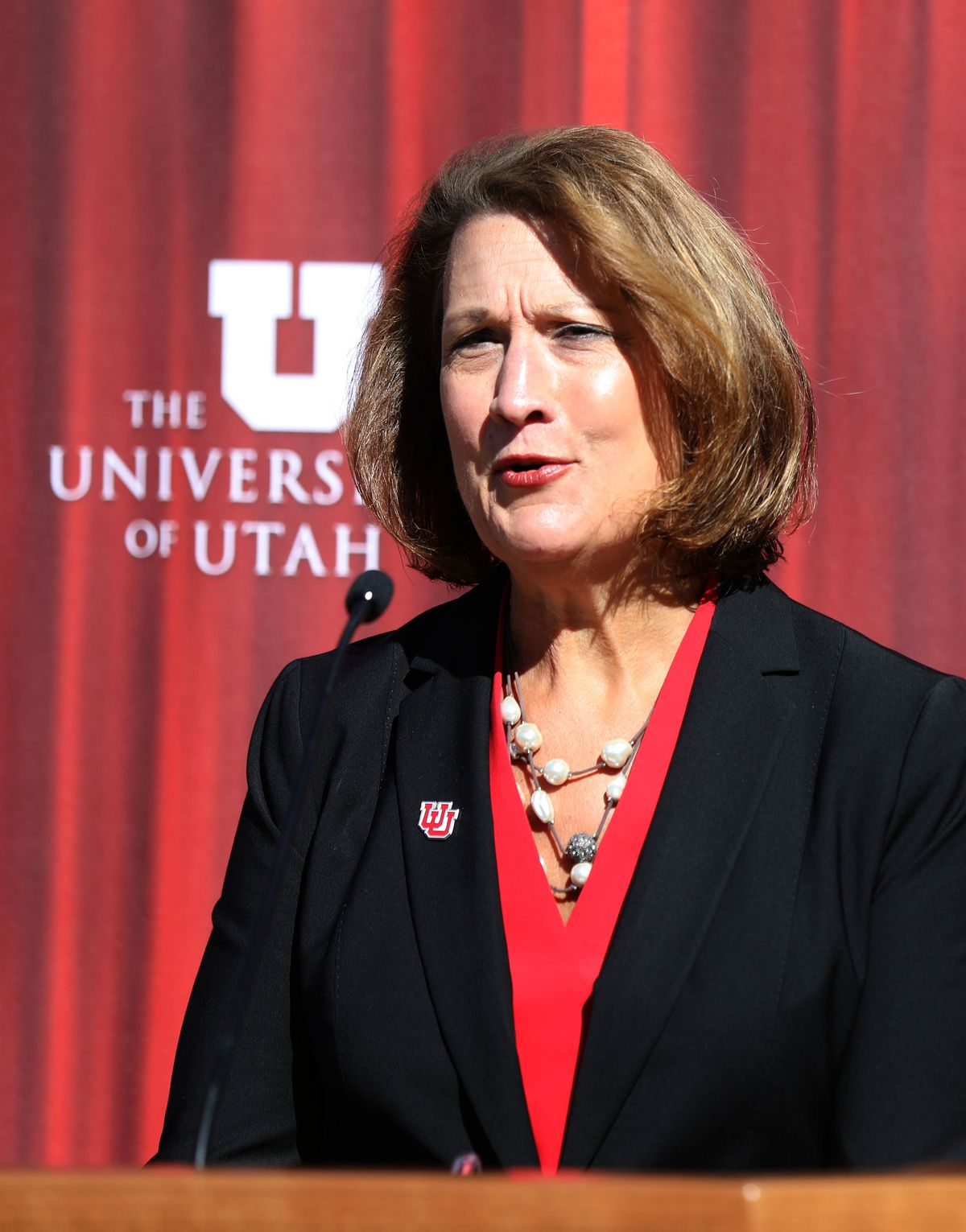 University of Utah President Ruth Watkins announces the U. has been selected to host the vice presidential debate during a press conference at Kingsbury Hall in Salt Lake City on Friday, Oct. 11, 2019. The debate will be held at the hall on Oct. 7, 2020.