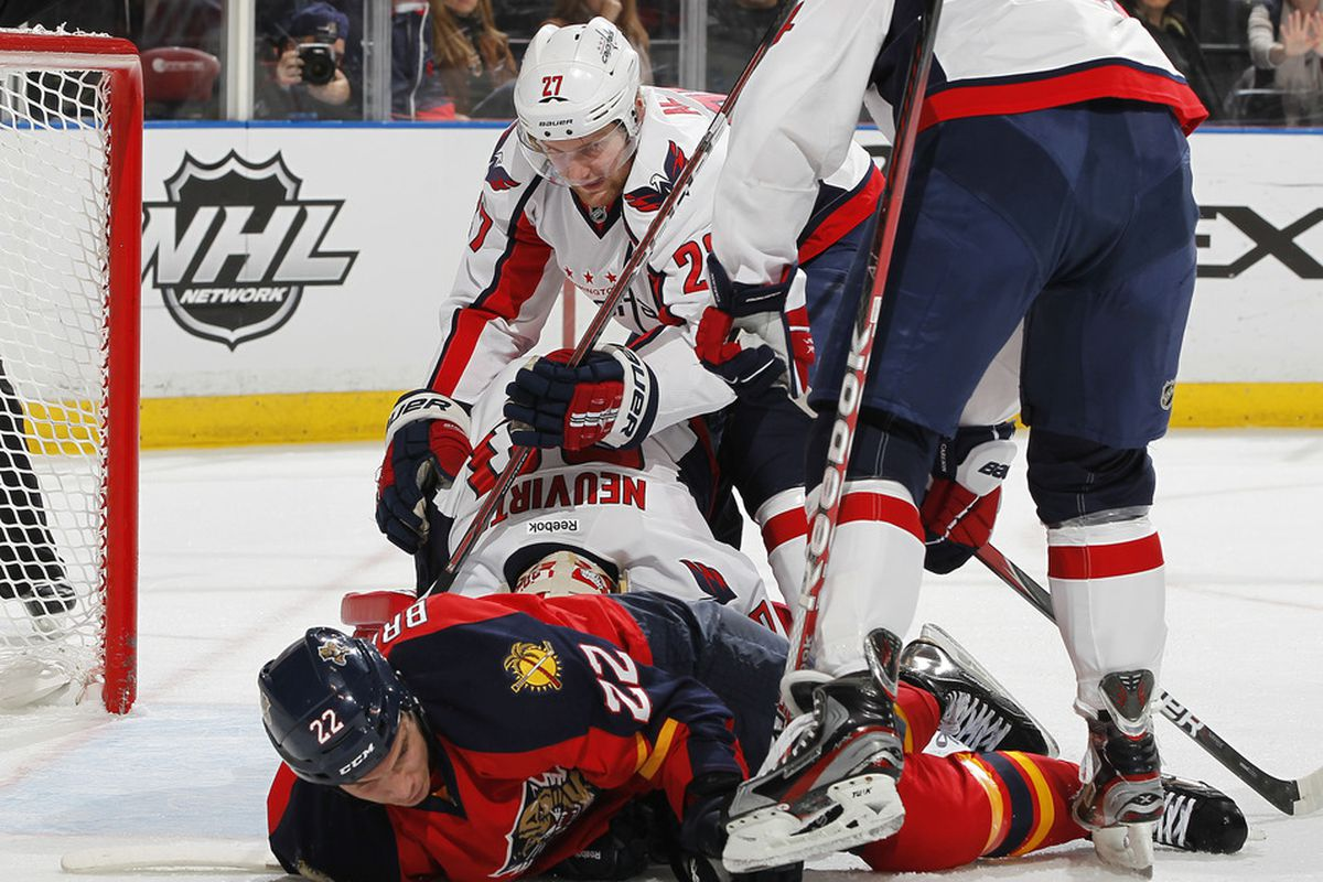 SUNRISE, FL - FEBRUARY 1: Matt Bradley #22 of the Florida Panthers is checked to the ice by Karl Alzner #27 of the Washington Capitals on February 1, 2012 at the BankAtlantic Center in Sunrise, Florida. (Photo by Joel Auerbach/Getty Images)