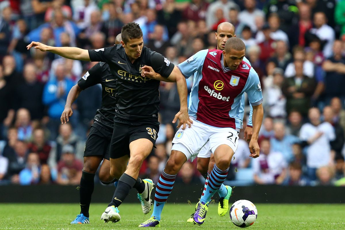 Jordan Bowery controls the ball during Aston Villa's 3-2 victory over Manchester City in September.