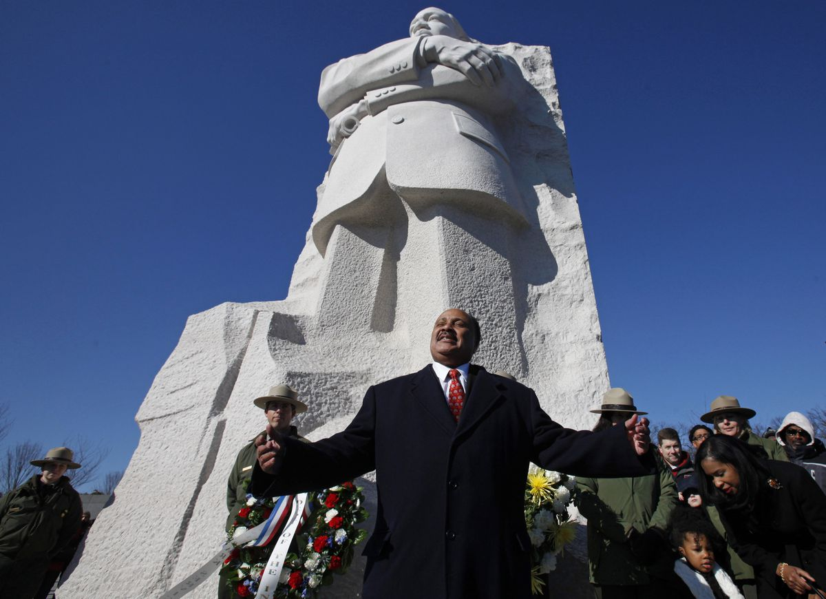 Martin Luther King III, the son of the Rev. Dr. Martin Luther King Jr., speaks during a ceremony at the Martin Luther King, Jr. Memorial.