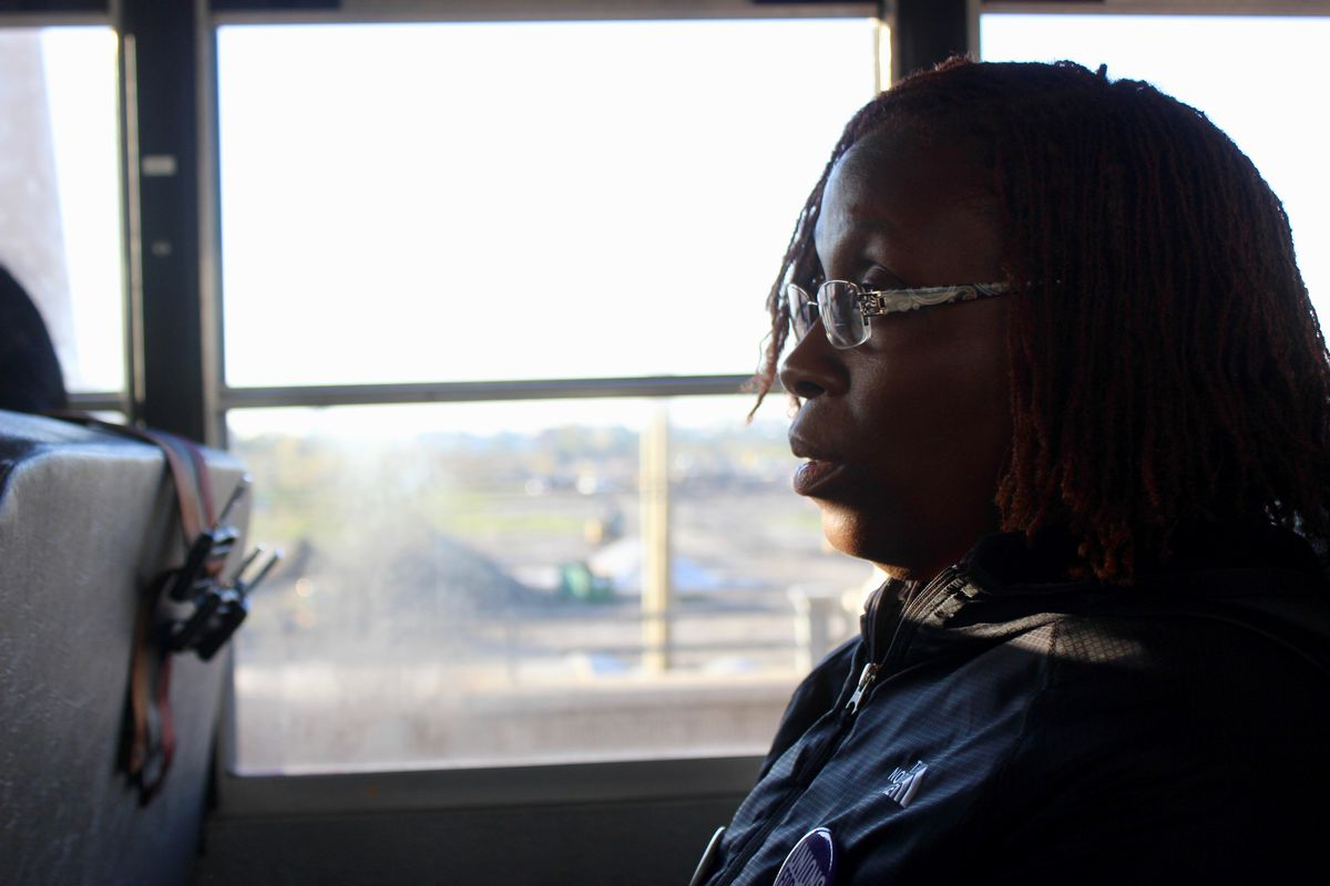 Althea McCaskill, a Chicago school bus aide, rode a bus to a citywide rally Oct. 23, 2019.