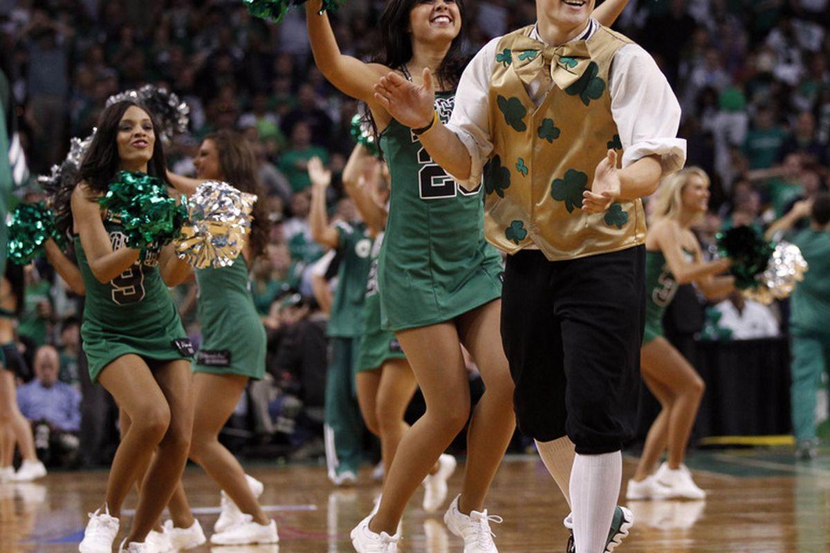Here's a festive Celtics fan! He's so happy right now!