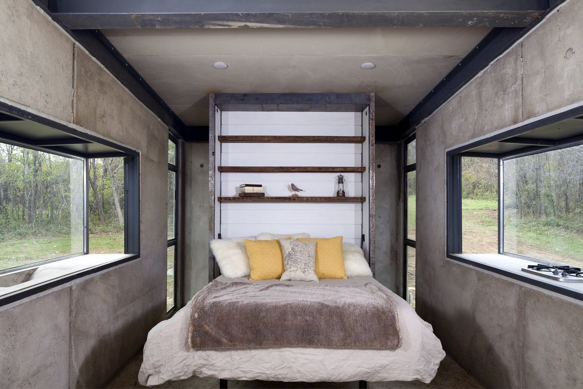 Murphy bed with pillows