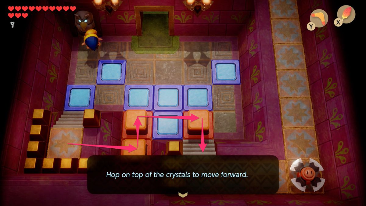 Link's Awakening Face Shrine hop on the crystals to move forward solution