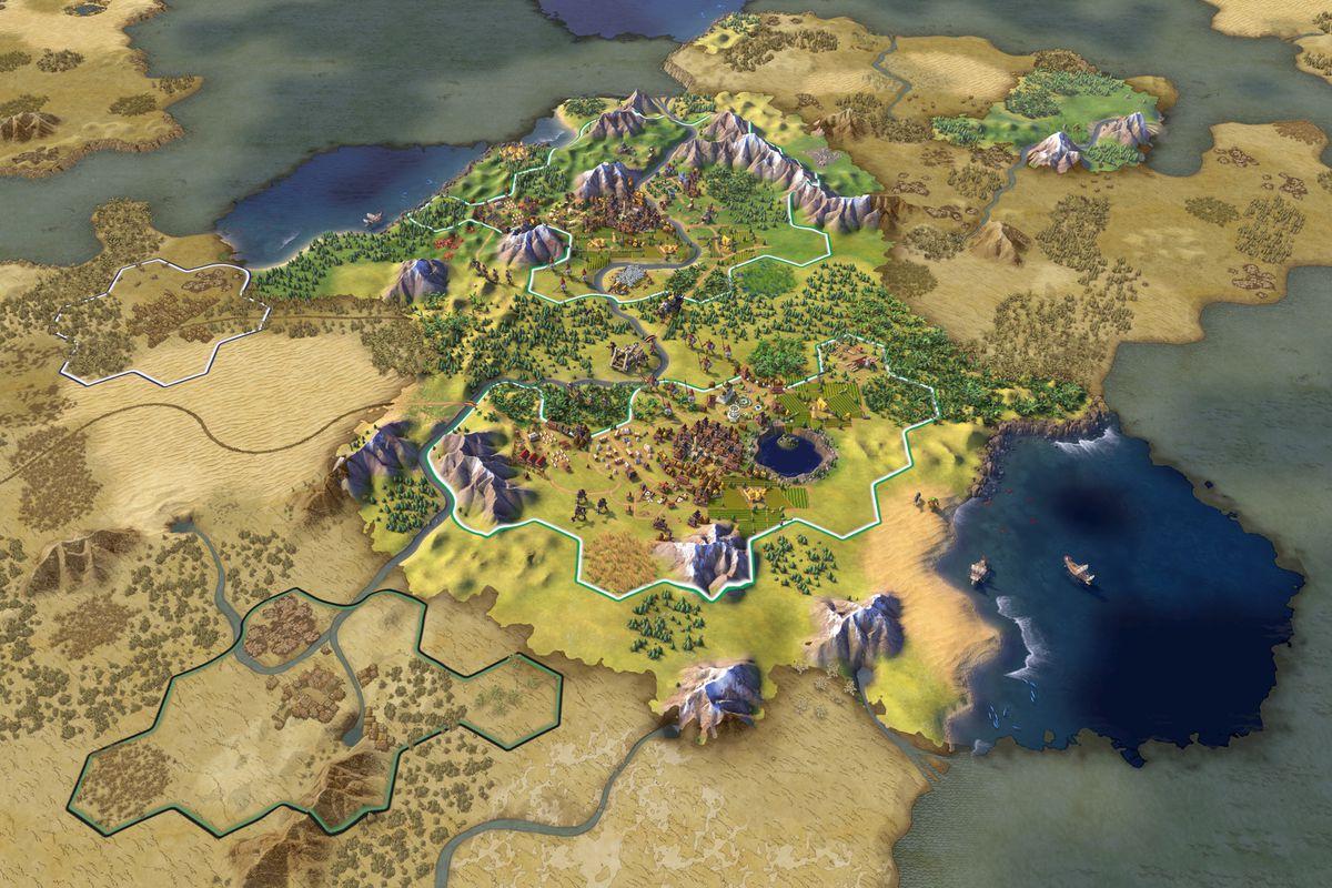 a screenshot of a hexagonal world in Civ 6