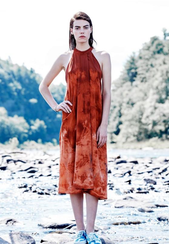 Model wearing red tie-dye halter dress