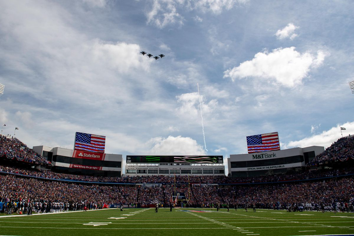 General view of the fly over during the national anthem prior to the game between the Buffalo Bills and the New England Patriots at New Era Field.