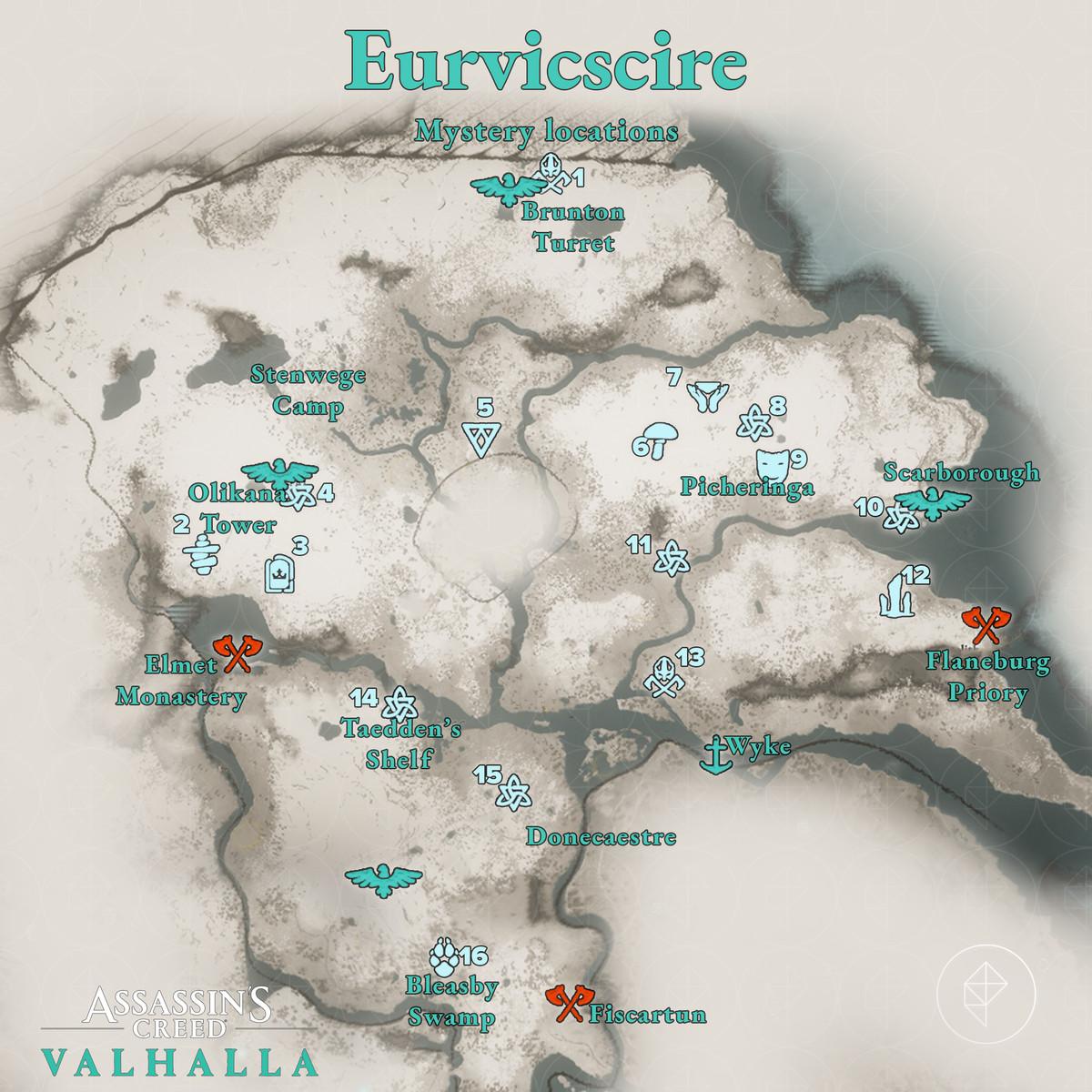 Euriviscire Mysteries locations map