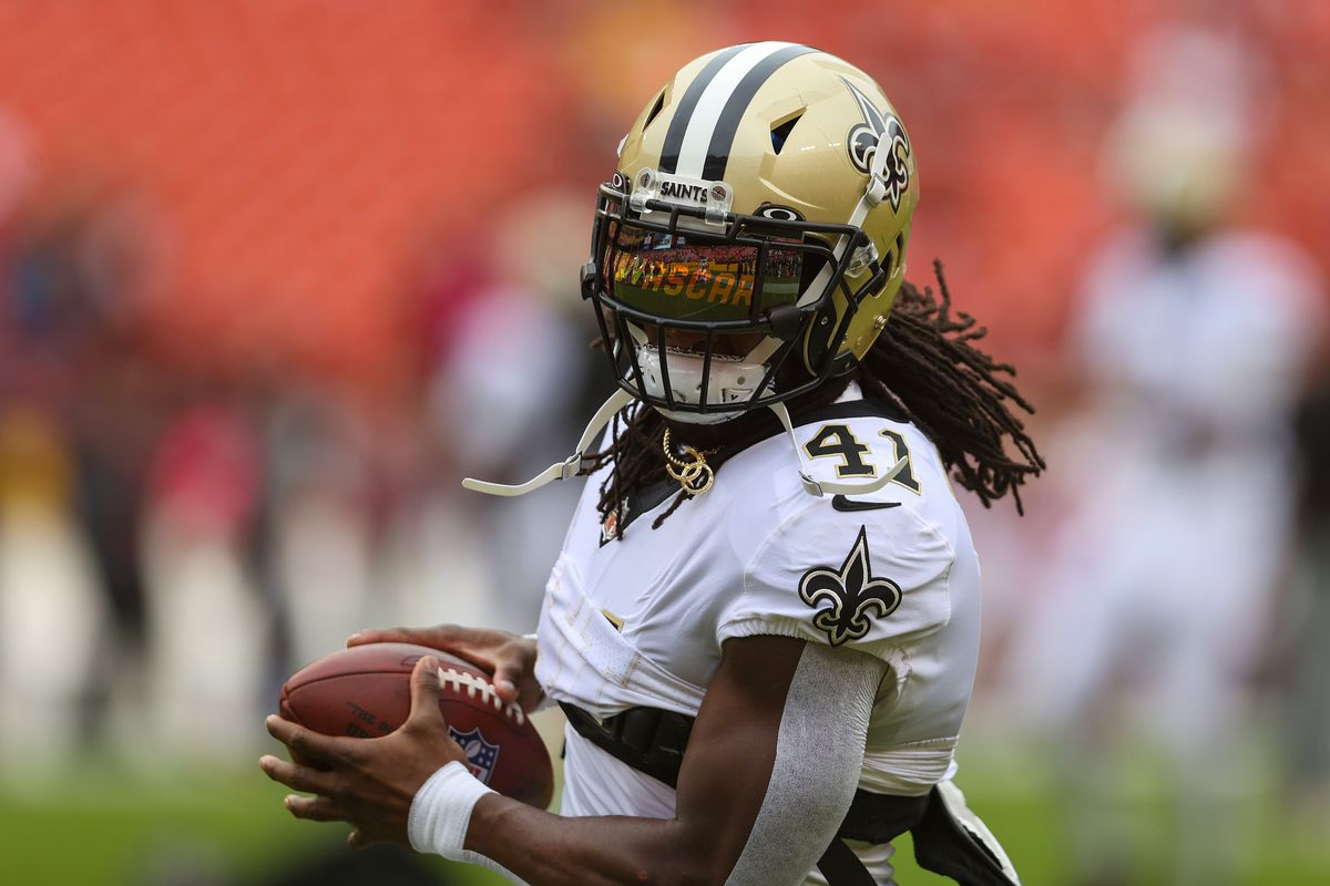Alvin Kamara #41 of the New Orleans Saints during pregame warm-ups against the Washington Football Team at FedExField on October 10, 2021 in Landover, Maryland.
