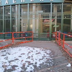 A closer look at the bleacher entrance