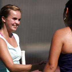 Scout Swenson of Rowland Hall shakes hands with Erica Park of Waterford following the State 2A Tennis third seed singles tournament at Liberty Park in Salt Lake City Saturday, Sept. 29, 2012.  Swenson defeated Park in the match.