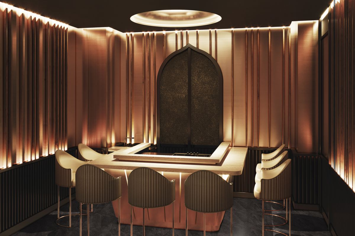 A rendering of a dramatically lit sushi bar surrounded by nine seats