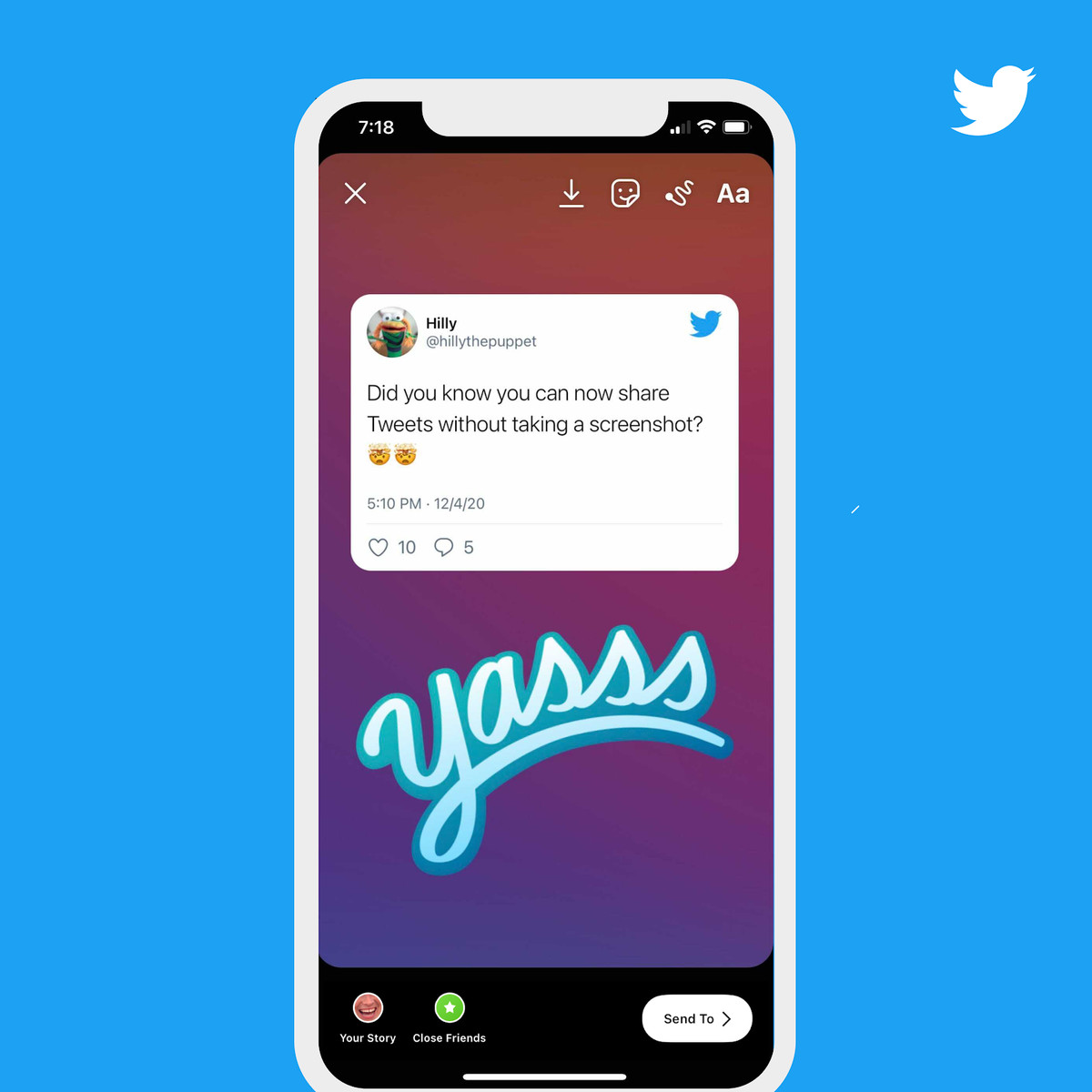 Image of a tweet that has been embedded into an Instagram story
