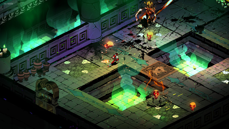 A screenshot of the video game Hades showing an interior landscape with a character running through explosions.
