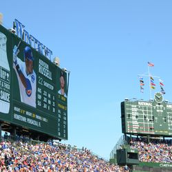 1:51 p.m. Example of the left field video board, and scoreboard, during the game -