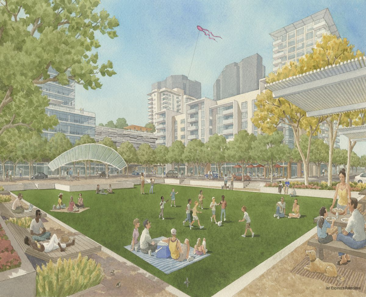 &nbsp;<br>A rendering showing people relaxing in a rectangular park with mid-rise buildings in the background