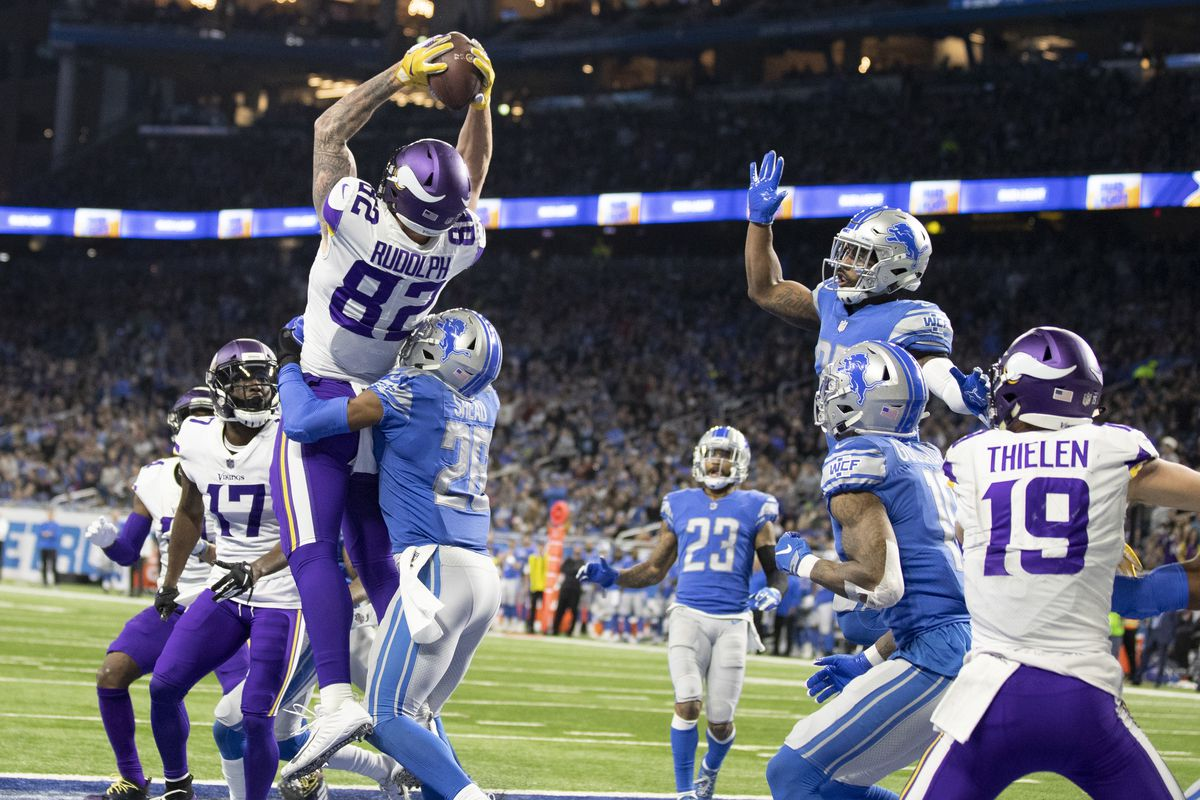 Minnesota Vikings tight end Kyle Rudolph (82) caught a Hail Mary touchdown against the Detroit Lions at Ford Field on Sunday December 23, 2018 in Detroit. (Jerry Holt/Star Tribune)