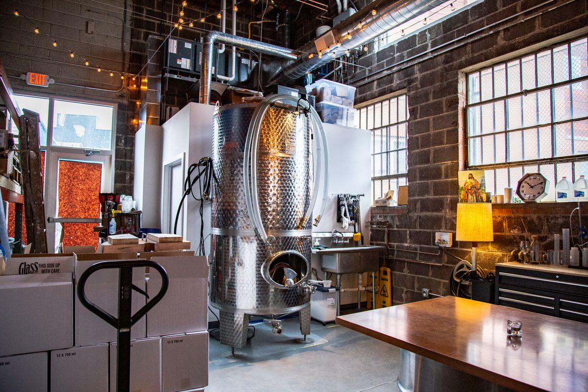 the inside of mural city cellars wine-making setup