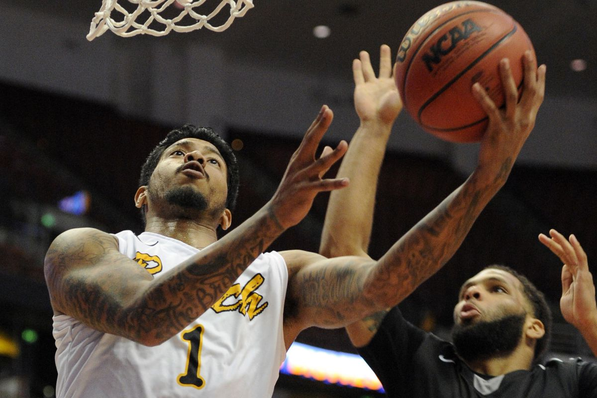 LBSU Tyler Lamb goes up for a shot against Cal State Northridge