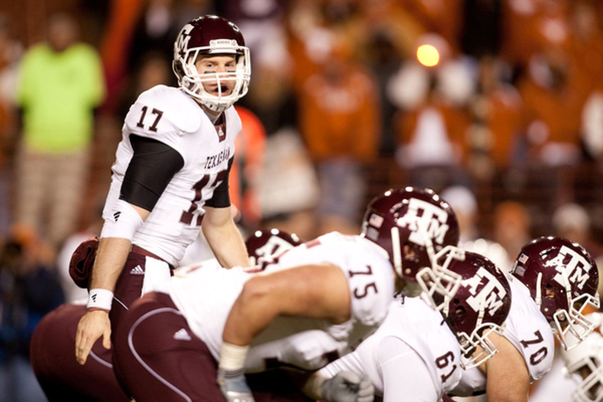 AUSTIN TX - NOVEMBER 25:  Quarterback Ryan Tannehill #17 of Texas A&M during the game against University of Texas in the first half at Darrell K. Royal-Texas Memorial Stadium on November 25 2010 in Austin Texas. (Photo by Darren Carroll/Getty Images)