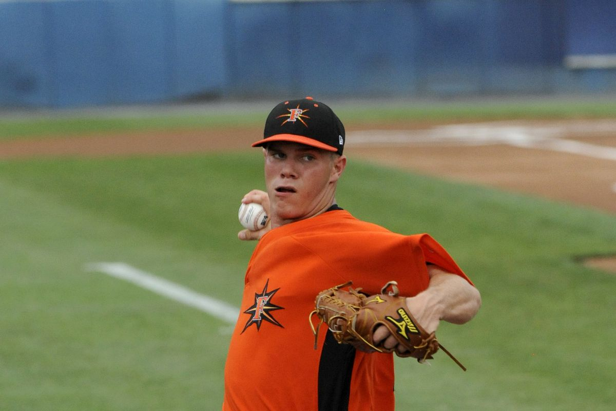 Dylan Bundy throwing a pitch when he played for the Frederick Keys.