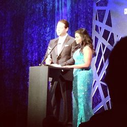 <b>Top Moment #3</b>: Mindy Kaling cracking jokes onstage with her <i>Mindy Project</i> co-star Ike Barinholtz. She wore a custom turquoise blue gown designed by <b>Salvador Perez</b>, who happens to be the president of the Costume Designers Guild <i>and<