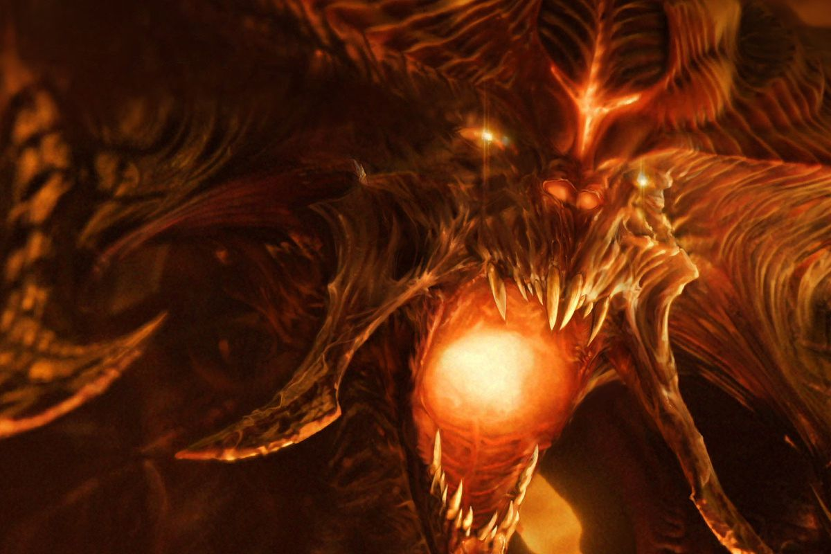 Diablo opens its mouth to reveal a mouth full of fire in artwork from Diablo 3.