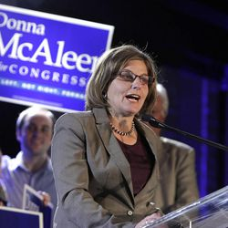 Donna McAleer gives her concession speech following a failed run for Congress at the Salt Lake Sheraton on Tuesday, Nov. 6, 2012, in Salt Lake City.
