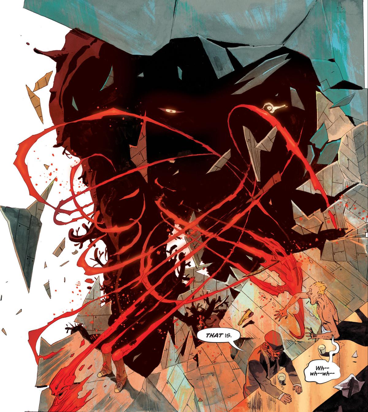 A huge monster, shapeless, dark, and staring, breaks through the walls of John Constantine's dream in John Constantine: Hellblazer #10, DC Comics (2020).