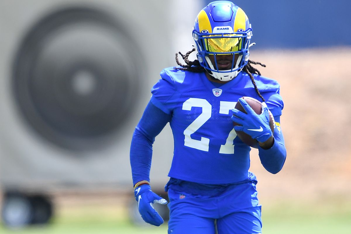 Los Angeles Rams running back Darrell Henderson (27) participates in drills during mini camp held at the practice facility at Cal State Lutheran.
