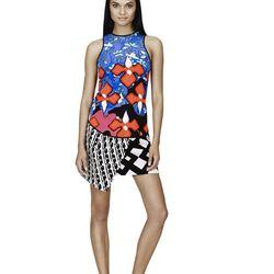 Tank in Red Iris Print, $24.99; Skirt in Black/White Print, $34.99; Slip-On Shoe in Black/White Print, $29.99