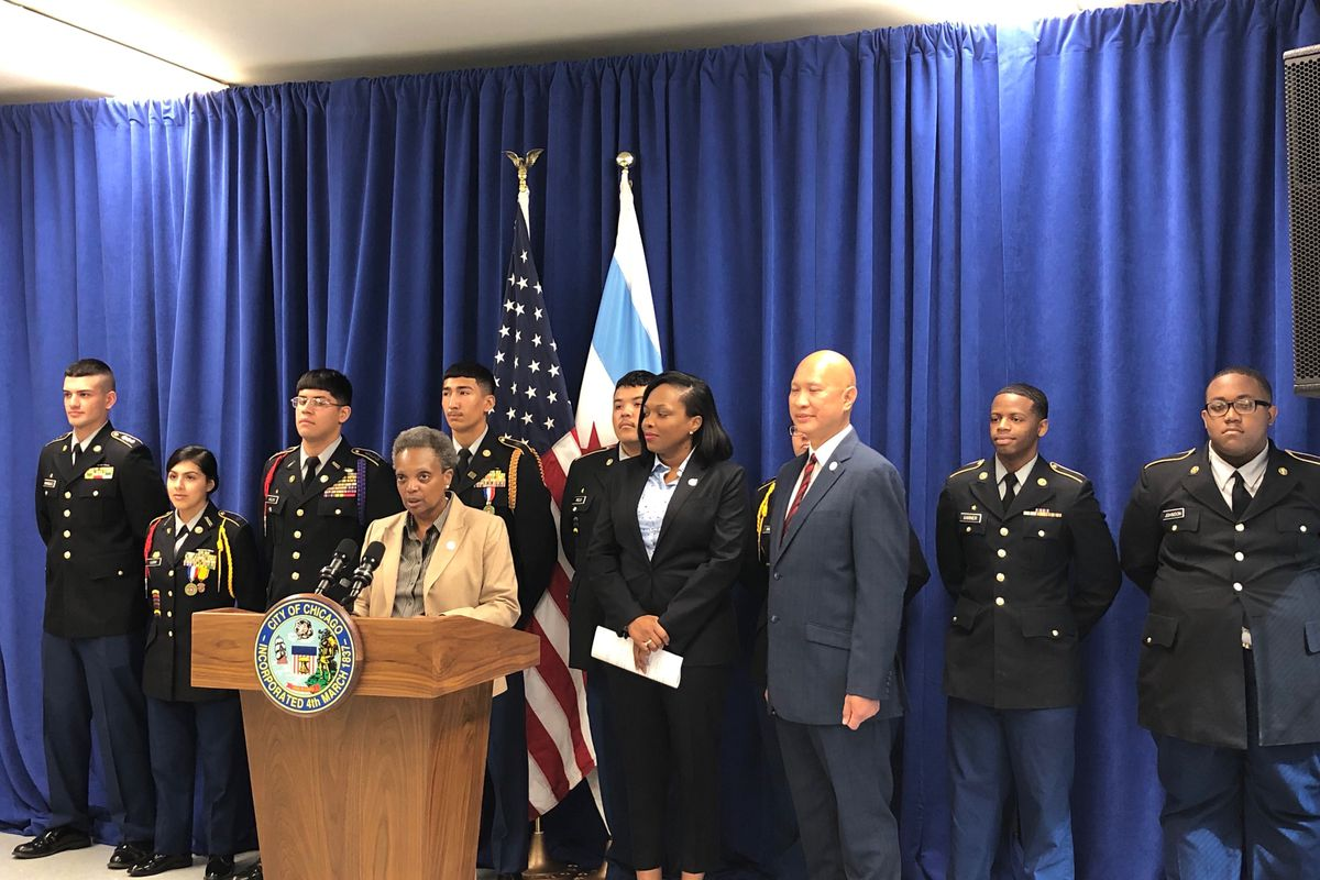 Chicago Mayor Lori Lightfoot speaks Sept. 5, 2019, during a press conference with Phoenix Military Academy Principal Ferdinand Wipachit and students.
